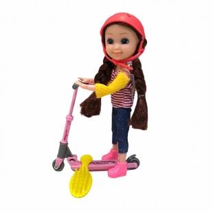 عروسک بچه باربی مفصلی مدل اسکوتر سوار