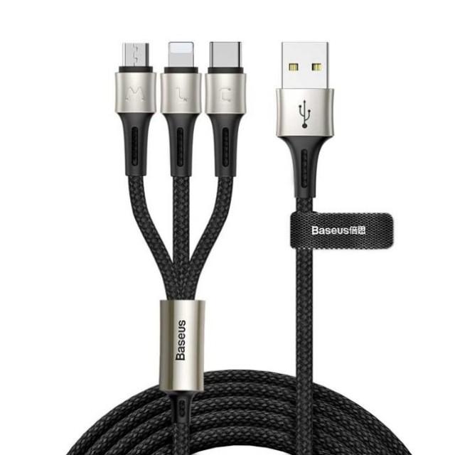 کابل سه سر بیسوس Baseus Caring 3 in 1 Cable CAMLT-GH01 1.2m توان 3.5 آمپر