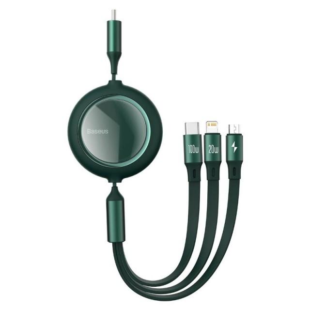 کابل سه سر Baseus Bright Mirror Retractable CAMLC-AMJ01 طول 1.2 متر و توان 100 وات دارای سیم جمع کن