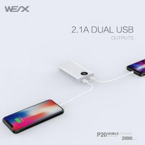 پاور بانک 20000 میلی آمپر ساعت برند WEX مدل P20
