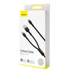کابل لایتنینگ به Type C و USB بیسوس Baseus Cafule 2in1 PD CATKLF-ELG1 طول 1.2 متر و توان 18 وات