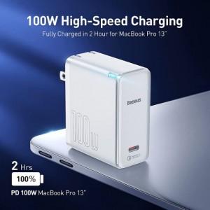 شارژر دیواری فست شارژ بیسوسEU  Baseus GaN2 QC5.0 PD3.0 Fast Charger 1C 100W  همراه کابل (دوشاخه ایرانی)