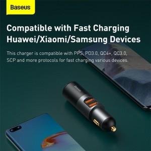 شارژر فندکی فست شارژ بیسوس Baseus Share Together With Cigarette Lighter U+U 120W CCBX-120U CCBT-D0G