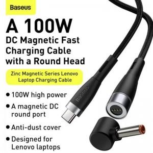 تبدیل تایپ سی به سوکت شارژ لپ تاپ - کابل شارژ لپتاپ 100 وات بیسوس 2 متری Baseus Zinc Lenovo Type C to DC CATXC-T01