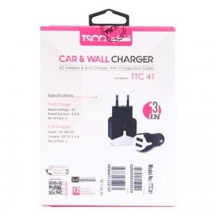 شارژر + شارژر فندکی TSCO TTC41 + کابل میکرو یو اس بی