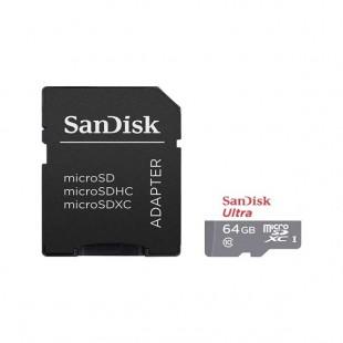 کارت حافظه microSDXC سن دیسک مدل Ultra کلاس 10 استاندارد UHS-I سرعت 100MBps ظرفیت 64 گیگابایت به همراه آداپتور SD