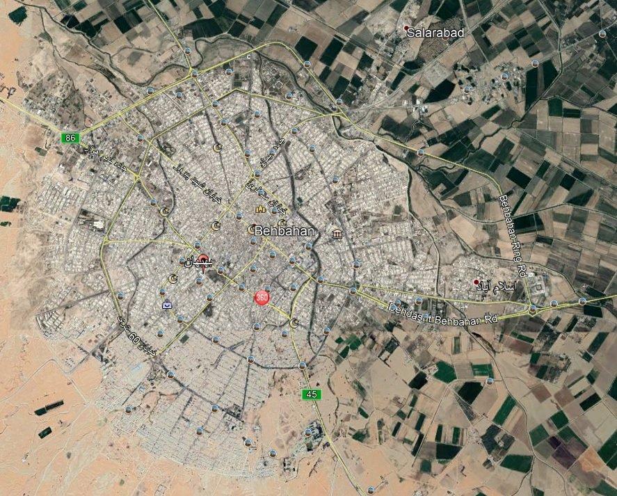 نقشه شهرستان بهبهان - فروشگاه اینترنتی ارجان