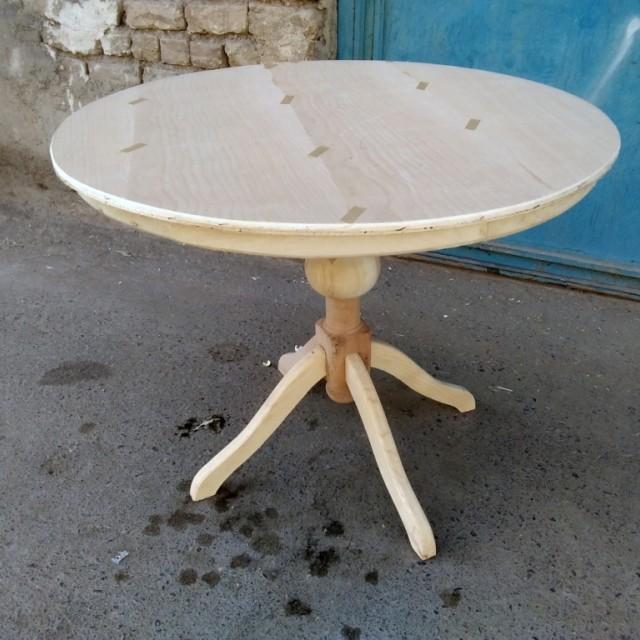 میز گلدانی با صفحه دور چوب خام کد 317