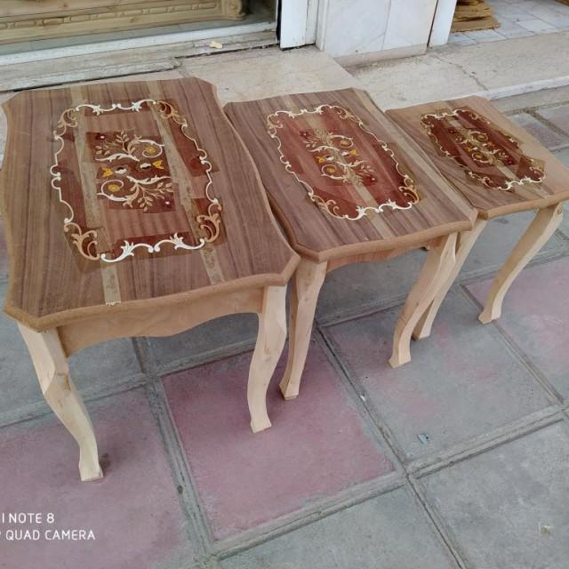 میز عسلی 3 تیکه معرق خام کد 3