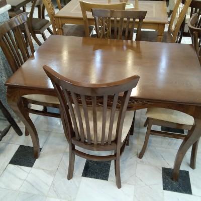 میز 4 نفره ماهان با صندلی 6 تیره کد 1505