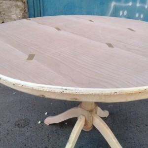 فروش میز گرد گلدانی خام با صفحه دور چوب