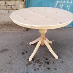 پخش میز گلدانی گرد با صفحه دور چوب خام