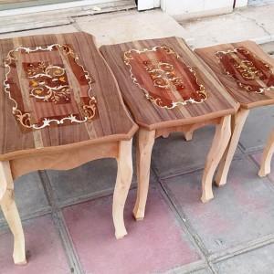خرید میز عسلی معرق 3 تکه خام