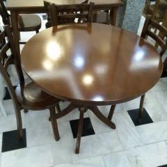 میز گرد با صندلی کف چوب