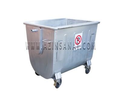 مخزن زباله فلزی 1100 قوس دار (بدون درب)