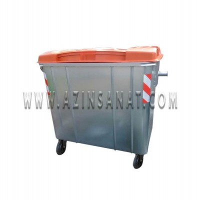 مخزن زباله گالوانیزه 1100 لیتری مکعب با درب پلی اتیلن