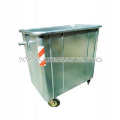مخزن زباله 770 لیتری گالوانیزه مکعب بدون درب ( با ورق 2)