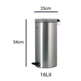 سطل پدالدار استیل ابعاد 16 لیتری Brasiana