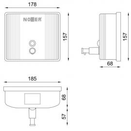 صابون ریز دستی مربعی Nofer INOX 03004-W سفید
