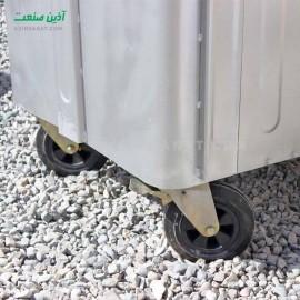 مخزن زباله فلزی 1100 لیتری مکعب بدون درب (ورق 2)