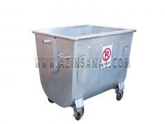 مخزن زباله فلزی 1100 قوس دار بدون درب (ورق 1.5)