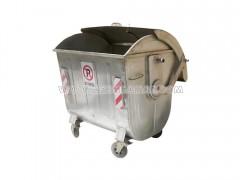 سطل زباله فلزی شهرداری 1100 لیتری قوس دار با درب بارانی (ورق 1.5)