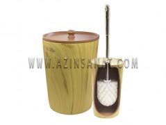 سطل و فرچه دستشویی رزین (وودن)