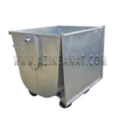 مخزن زباله فلزی 1100 قوس دار با درب تخت (ورق 1.5)