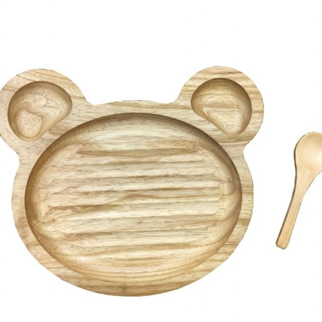 ظرف غذای کودک + قاشق چوبی کد 3434