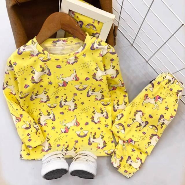 ست لباس خواب دخترانه زرد مدل یونیکورن