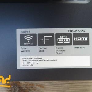 لپ تاپ 15 اینچی ایسر مدل Aspire 3 A315-55G-57HL در بروزکالا