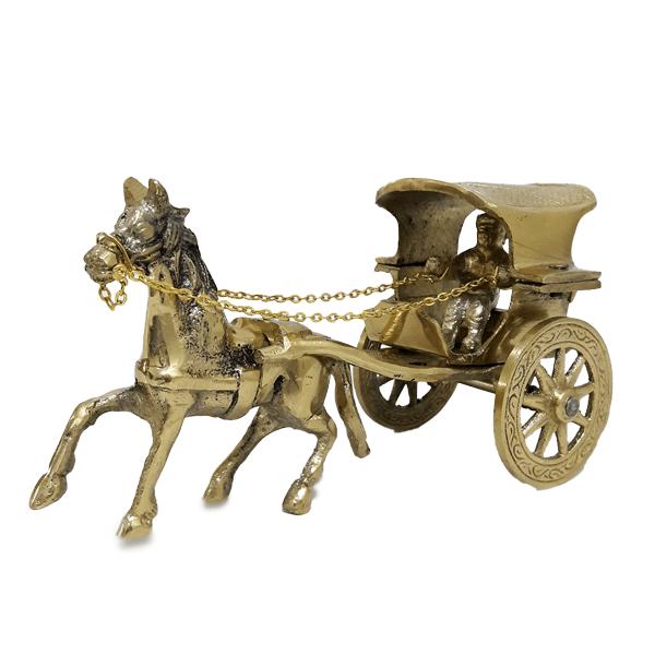 مجسمه کالسکه اسب برنجی