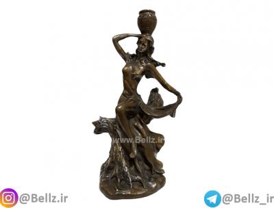 مجسمه دختر برنز کوزه به دست