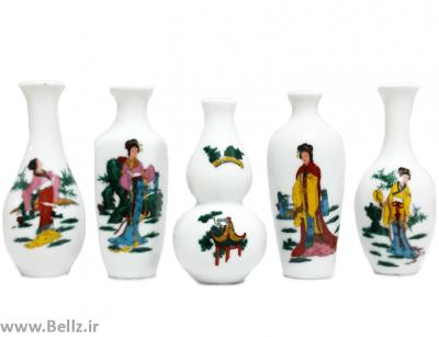 ست ۵ عددی گلدان مینیاتوری چینی  (طرح ۳)