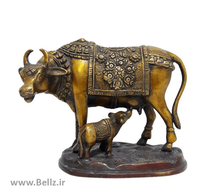 مجسمه گاو و گوساله  برنجی - کد ۱