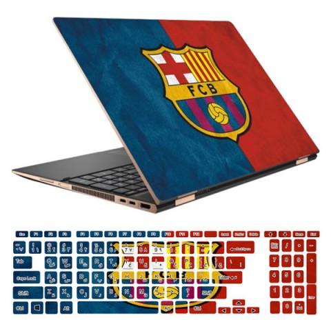 استیکر لپ تاپ طرح Barcelona کد 01 مناسب برای لپ تاپ 15.6 اینچ به همراه بر چسب حروف فارسی کیبورد