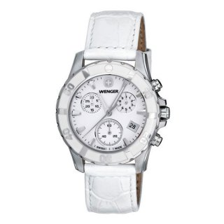 ساعت مچی زنانه ونگر مدل  Wenger 70744 Sport Elegance Chrono Mother-Of-Pearl Dial White Leather