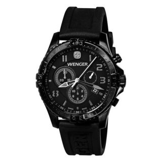 ساعت مچی مردانه ونگر مدل Wenger 77054 Squadron Chrono All-Black Rubber Strap