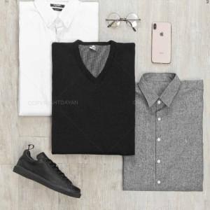 ست پیراهن و پلیور مردانه