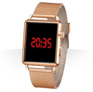 ساعت LED بند فلزي طلایی مدل apple