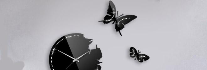 خرید ساعت دیواری پروانه نگینی