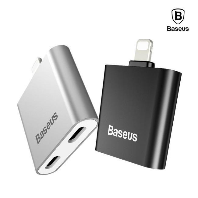 تبدیل لایتنینگ اپل به جک 3.5 میلیمتری و شارژ بیسوس Baseus IP To Double IP Socket Adapter