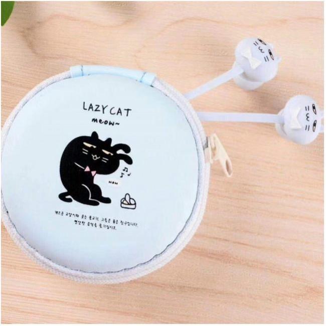 هندزفری فانتزی طرح گربه همراه با کیف نگهدارنده Sibyl Cute Cartoon Cat Wired Headphones With Mic