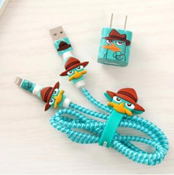 پک محافظ کابل پلاستیکی protective Toys محافظ + برچسب شارژر آیفون اردک