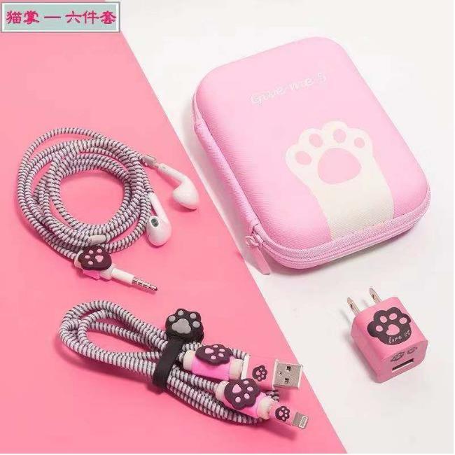 پک محافظ کابل به همراه کیف مستطیل پنجه گربه Rectangle Cat Pack