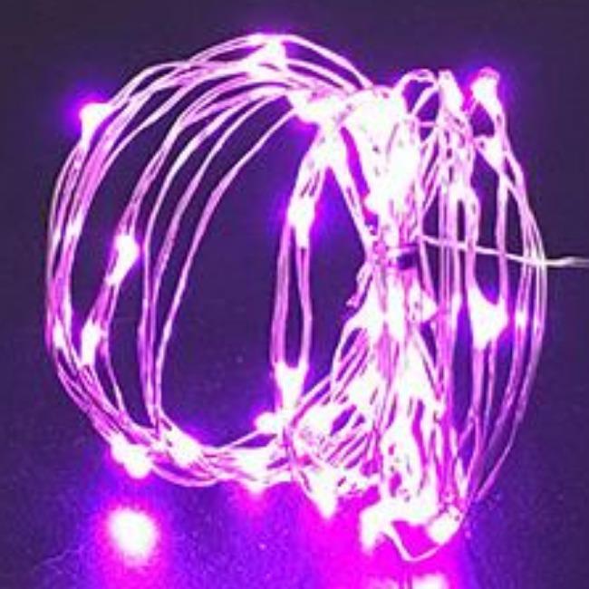 ریسه مفتولی یک متری با نور صورتی