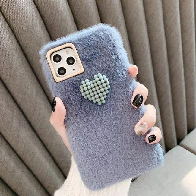 قاب خزدار قلب برجسته آیفون Woolly Little Heart Case iPhone X/Xs