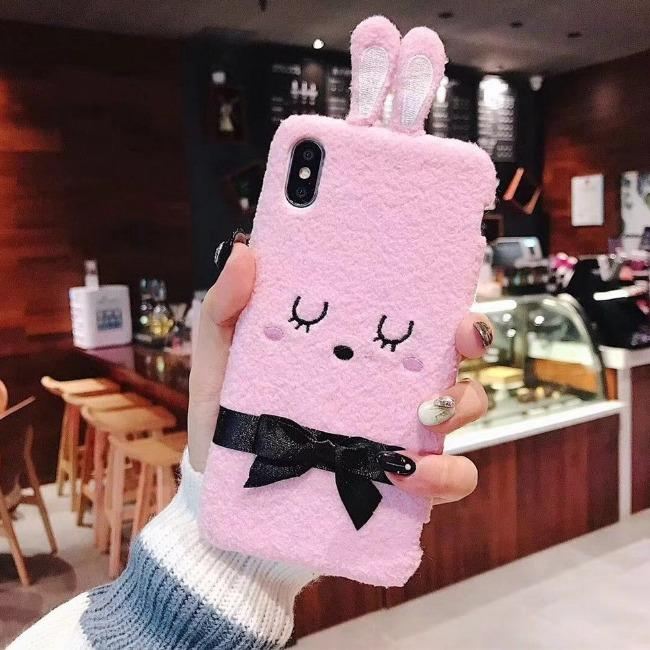 قاب پشمی خرگوشی پاپیون دار آیفون Rabbit Papion Case iPhone X