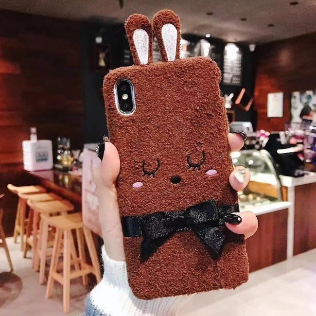 قاب پشمی خرگوشی پاپیون دار آیفون Rabbit Papion Case iPhone Xr