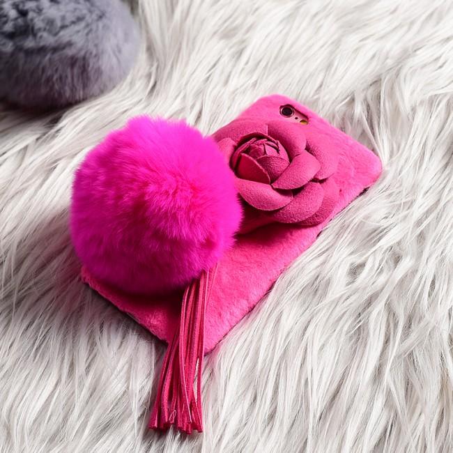 قاب مخملی خزدار Flower Fur Rose 3D Case for Apple iPhone 6 Plus